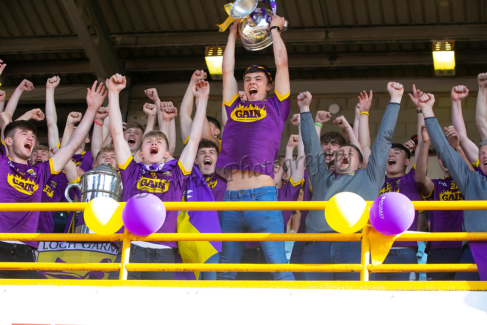 01/07/2019. Wexford GAA Homecoming at Innovate Wexford Park where the Senior Leinster Hurling and Minor Champions and the Ladies Football winners arrived to a large crowd. Pictured are the Minor Hurling Champions with Captain Richie Lawlor. Picture: Patrick Browne