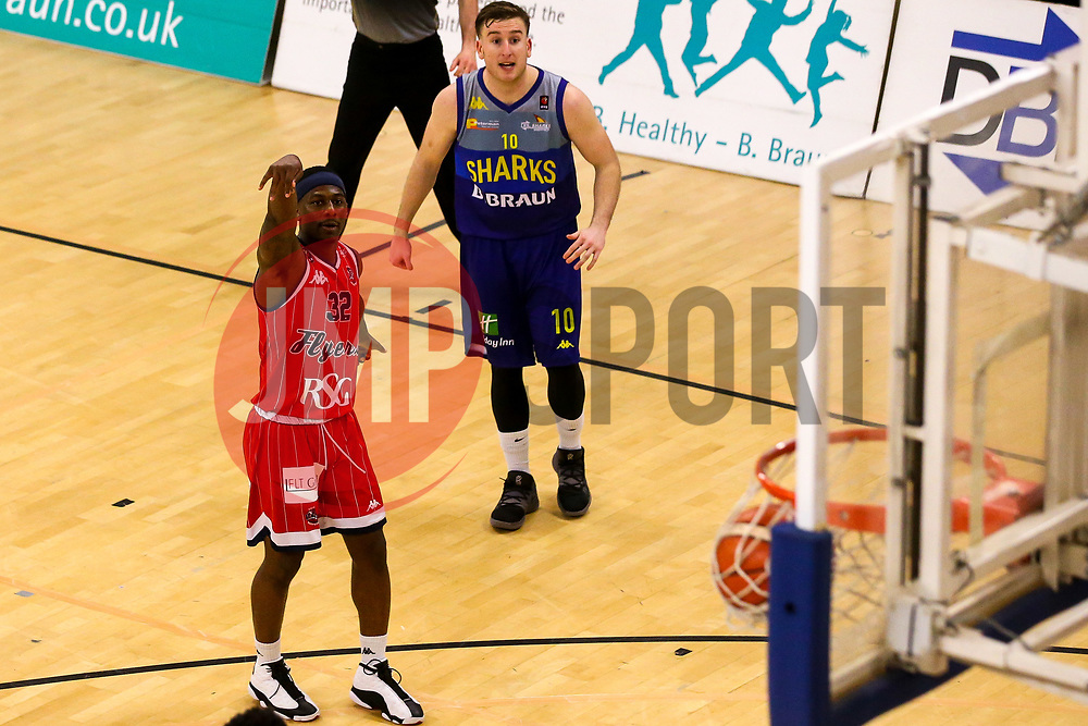 Jalan McCloud of Bristol Flyers scores a two pointer - Photo mandatory by-line: Robbie Stephenson/JMP - 29/03/2019 - BASKETBALL - English Institute of Sport - Sheffield, England - Sheffield Sharks v Bristol Flyers - British Basketball League Championship