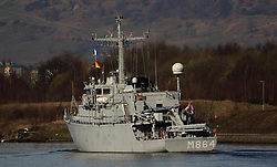 Pictured: NATO WARSHIP M864<br /> Ships involved in Exercise Joint Warrior, a major bi-annual multi-national military exercise which takes place in the United Kingdom. leave King George The V Docks at Shieldhall Glasgow heading up the Clyde by Braehead.  One of the largest military exercises in Europe, Joint Warrior will see maritime activity from units from Denmark, Belgium, Estonia, France, Germany, the Netherlands, Norway, Spain, Sweden, the UK and the US.<br /> <br /> Stephen Smyth| EEm 27 March 2017