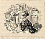 Female academic writing a paper  in the 1950s as imagined in the 1880s. From 'La vie electrique', Paris, c1880, by A Robida.