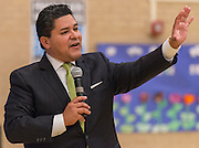Houston ISD Superintendent Richard Carranza comments during a stop of the Listen & Learn tour at Black Middle School, September 20, 2016.