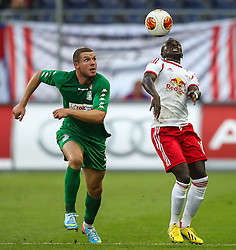 22.08.2013, Red Bull Arena, Salzburg, AUT, UEFA EL Play Off, FC Red Bull Salzburg vs VMFD Zalgiris, Hinspiel, im Bild Georgas Freidgeimas, (VMFD Zalgiris Vilnius, #3) und Sadio Mane, (FC Red Bull Salzburg, #10)// during UEFA Europa League Qualification 1st Leg Match between FC Red Bull Salzburg and VMFD Zalgiris at the Red Bull Arena, Salzburg, Austria on 2013/08/22. EXPA Pictures © 2013, PhotoCredit: EXPA/ Roland Hackl
