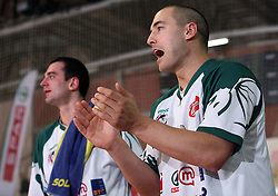 Marko Milic (R) and Jasmin Hukic (L) of Union Olimpija during the final match of Spar Cup 2007-08 between Union Olimpija, Ljubljana, Slovenia, and Helios Domzale, Slovenia, on February 10, 2008, in Arena Kodeljevo, Ljubljana, Slovenia. Milic didn`t play because of his leg injury from semifinal. Match and Cup was won by Union Olimpija, who defeated Helios Domzale in final match with 85:66. (Photo by Vid Ponikvar / Sportal Images).