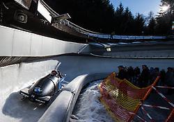 21.02.2016, Olympiaeisbahn Igls, Innsbruck, AUT, FIBT WM, Bob und Skeleton, Herren, Viererbob, 3. Lauf, im Bild Benjamin Maier, Marco Rangl, Markus Sammer, Danut Ion Moldovan (AUT) // Benjamin Maier Marco Rangl Markus Sammer Danut Ion Moldovan of Austria compete during Four-Man Bobsleigh 3rd run of FIBT Bobsleigh and Skeleton World Championships at the Olympiaeisbahn Igls in Innsbruck, Austria on 2016/02/21. EXPA Pictures © 2016, PhotoCredit: EXPA/ Johann Groder