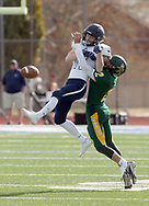 Pratt's Kaden Evert breaks up a pass intended for Sabetha's Ryan Stapleton in the first quarter of the 3A state championship game Saturday, Nov. 24, 2018 in Hutchinson, Kan. [Travis Morisse]