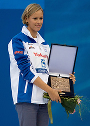 Federica Pellegrini of Italy receives an award after  the 13th FINA World Championships Roma 2009, on August 2, 2009, at the Stadio del Nuoto,  in Foro Italico, Rome, Italy. (Photo by Vid Ponikvar / Sportida)