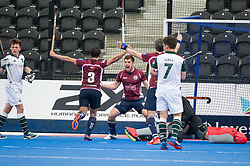 Henry Weir celebrates scoring for Wimbledon. Wimbledon v Surbiton - Men's Hockey League Final, Lee Valley Hockey & Tennis Centre, London, UK on 23 April 2017. Photo: Simon Parker