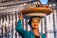Woman selling food at the Pagoda Festival in Bagan, Myanmar (Burma)