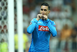 August 22, 2017 - Nice, France - Jose Maria Callejon of Napoli celebration after the goal of 0-1  during the UEFA Champions League Qualifying Play-Offs round, second leg match, between OGC Nice and SSC Napoli at Allianz Riviera Stadium on August 22, 2017 in Nice, France. (Credit Image: © Matteo Ciambelli/NurPhoto via ZUMA Press)