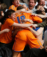Photo: Steve Bond/Richard Lane Photography. <br />Leicester City v Sheffield Wednesday. Coca-Cola Championship. 26/04/2008. Leon Clarke engulfed by travelling fans after he scores no3