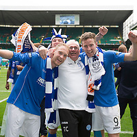St Johnstone v Dundee United....17.05.14   William Hill Scottish Cup Final<br /> Steven Anderson and Steven MacLean celebrate with Tommy Campbell<br /> Picture by Graeme Hart.<br /> Copyright Perthshire Picture Agency<br /> Tel: 01738 623350  Mobile: 07990 594431