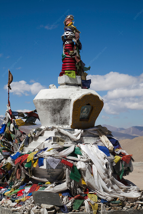 Buddhist Stupa at Taglang La, elevation 5,328 metres, the second highest road pass in the world. Ladakh, Northern India