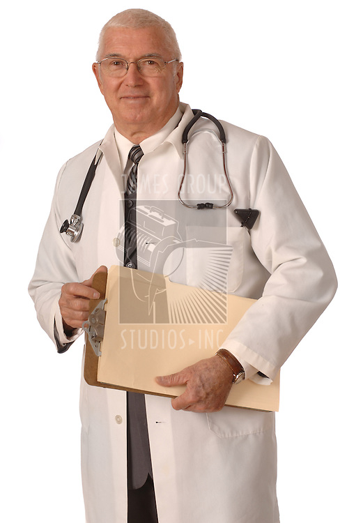 Doctor standing in labcoat against a white background