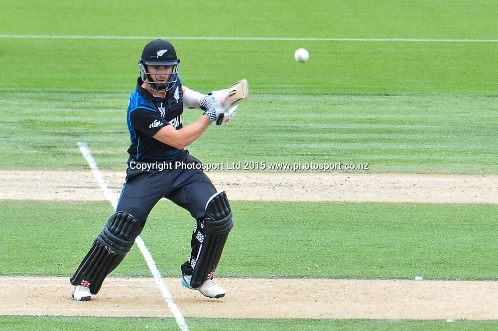 Kane Williamson of the Black Caps during the ICC Cricket World Cup match between New Zealand and Sri Lanka at Hagley Oval in Christchurch, New Zealand. Saturday 14 February 2015. Copyright Photo: John Davidson / www.Photosport.co.nz