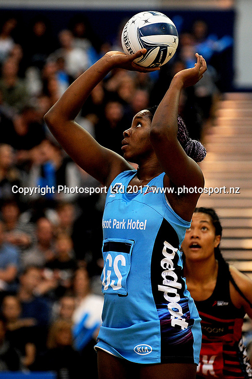 Jhaniele Fowler-Reid of the Southern Steel takes a shot at goal during the ANZ Premiership match between the Southern Steel and the Tactix, held at Edgar Centre, Dunedin, New Zealand, on 7th May 2017. Credit: Joe Allison / www.photosport.nz