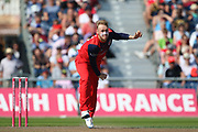 Lancashire Lightnings Matthew Parkinson   during the Vitality T20 Blast North Group match between Lancashire Lightning and Derbyshire Falcons at the Emirates, Old Trafford, Manchester, United Kingdom on 26 August 2019.