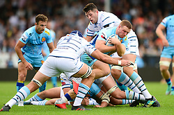 Sam Simmonds of Exeter Chiefs is challenged by George Earle of Cardiff Blues - Mandatory by-line: Dougie Allward/JMP - 18/08/2018 - RUGBY - Sandy Park Stadium - Exeter, England - Exeter Chiefs v Cardiff Blues - Pre-season friendly