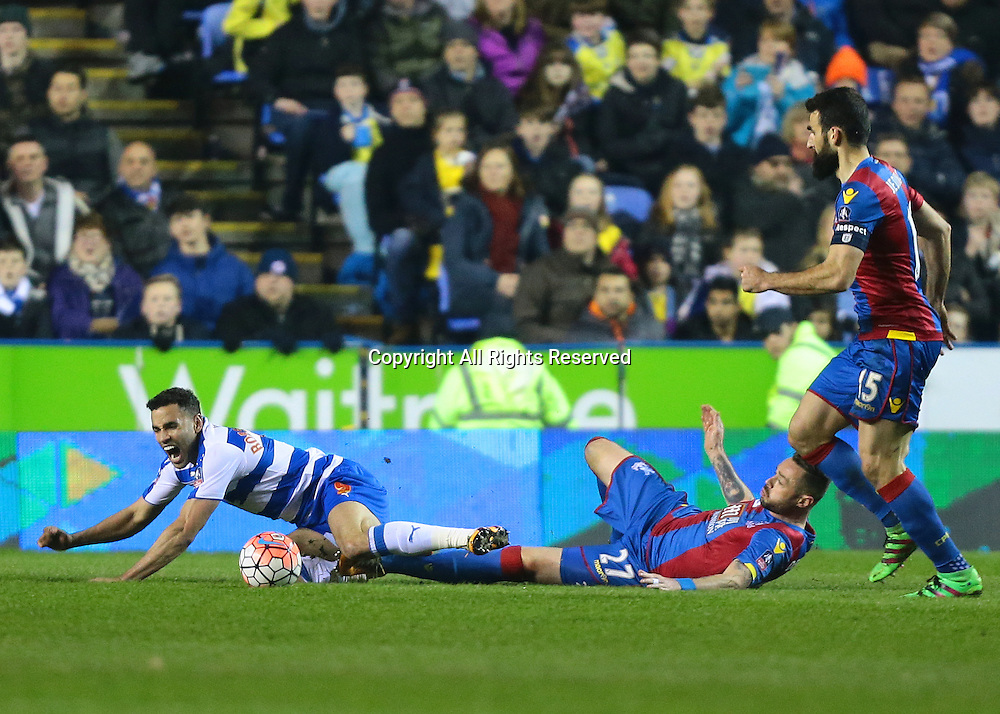11.03.2016. Madejeski Stadium, Reading, England. Emirates FA Cup 6th Round. Reading versus Crystal Palace. Reading Forward Hal Robson-Kanu is brought down by Crystal Palace Defender Damien Delaney
