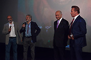 "Arnold Schwarzenegger and Laurent Fabius, presenting the documentary film ""Wonders of the sea"", produced by Arnold Schwarzenegger and Francois Montello, directed by Jean-Michel Cousteau and Jean-Jacques Montello, with the support of R20, Di Caprio Fondation and Green Cross, Paris, France"