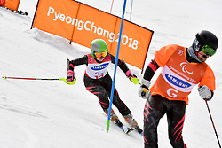 FRANTSEVA Aleksandra B3 NPA Guide: PLIASKIN Semen competing in the ParaSkiAlpin, Para Alpine Skiing, Slalom at the PyeongChang2018 Winter Paralympic Games, South Korea.