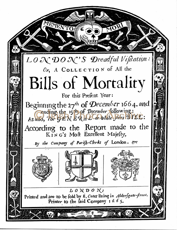 Title page of mortality bill for London for 1664/5, covering part of the period of the Great Plague. John Graunt (1620-1674) based his statistical analysis on these weekly and yearly tables.