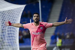 December 8, 2018 - Barcelona, Catalonia, Spain - 09 Luis Suarez of FC Barcelona celebrating his goal during the Spanish championship La Liga football match between RCD Espanyol v FC Barcelona on December 08, 2018 at RCD Stadium stadium in Barcelona, Spain. (Credit Image: © Xavier Bonilla/NurPhoto via ZUMA Press)