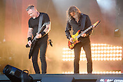 Photo of the band Metallica performing live on stage at Global Citizen Festival in Central Park, NYC on September 24, 2016. © Matthew Eisman. All Rights Reserved