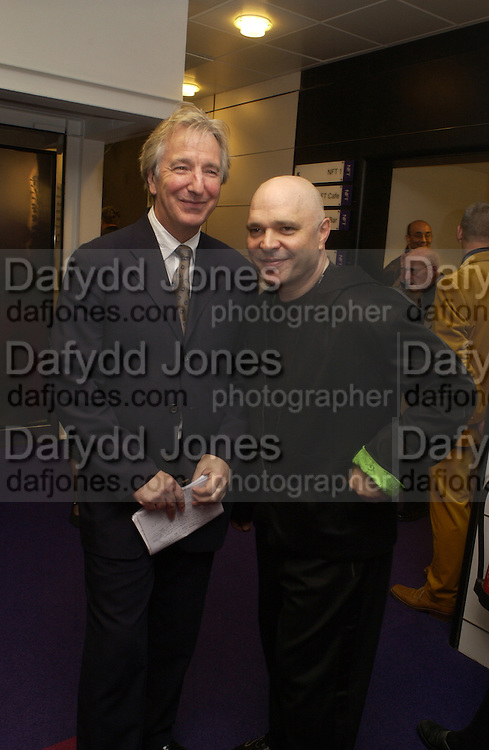 Alan Rickman and Anthony Minghella, celebration of 100 years of the acting school RADA at the National Film Theatre, on May 9 2004. SUPPLIED FOR ONE-TIME USE ONLY> DO NOT ARCHIVE. © Copyright Photograph by Dafydd Jones 66 Stockwell Park Rd. London SW9 0DA Tel 020 7733 0108 www.dafjones.com