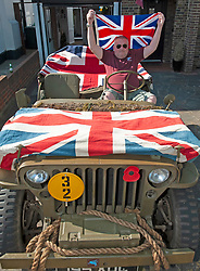 ©Licensed to London News Pictures 08/05/2020  <br /> Pettswood, UK. Russell Gilling from Pettswood, South East London in his army jeep on his driveway. VE-Day 75th anniversary celebrations in coronavirus lockdown. People enjoy parties in their front gardens with family and neighbours as they observe social distancing. Photo credit:Grant Falvey/LNP