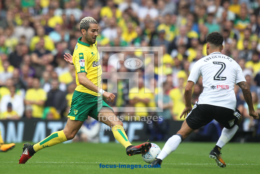 Mario Vrancic of Norwich and Ryan Fredericks of Fulham in action during the Sky Bet Championship match at Craven Cottage, London<br /> Picture by Paul Chesterton/Focus Images Ltd +44 7904 640267<br /> 05/08/2017