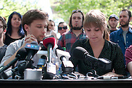 Gabriel Nadeau Dubois and Jeanne Reynolds, co-spokespersons for La Classe, give a press conference in which they call on the public to disobey the Bill 78, passed by the Quebec Liberal Government to force an end to the student strike. Montreal, May 21, 2012.