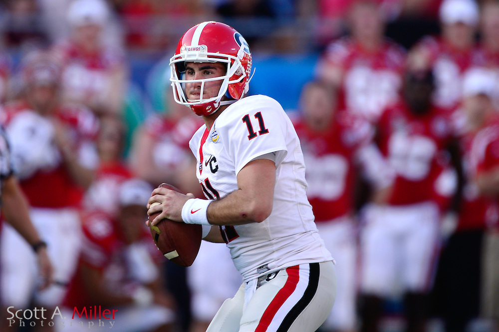 Georgia Bulldogs quarterback Aaron Murray (11) during the Bulldogs 45-31 win over the Nebraska Cornhuskers in the Capital One Bowl at the Florida Citrus Bowl on Jan 1, 2013 in Orlando, Florida. ..©2012 Scott A. Miller..