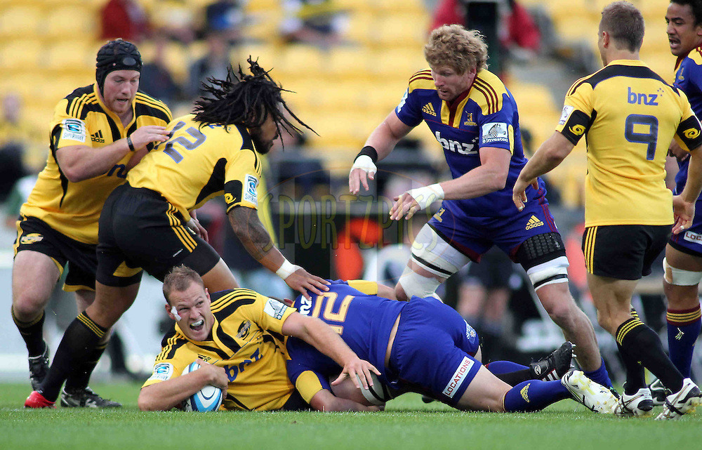 Hurricanes lock James Broadhurst presents the ball. Super 15 - Hurricanes v Highlanders, Westpac stadium, Wellington, 18 February 2011. PHOTO: Grant Down / photosport.co.nz