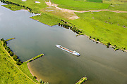 Nederland, Gelderland, Gemeente Utrechtse Heuvelrug, 26-06-2013; binnenvaartschip de Neder-rijn bij Amerongen.<br /> Barge with sand on the Lower Rhine.<br /> luchtfoto (toeslag op standaard tarieven);<br /> aerial photo (additional fee required);<br /> copyright foto/photo Siebe Swart.