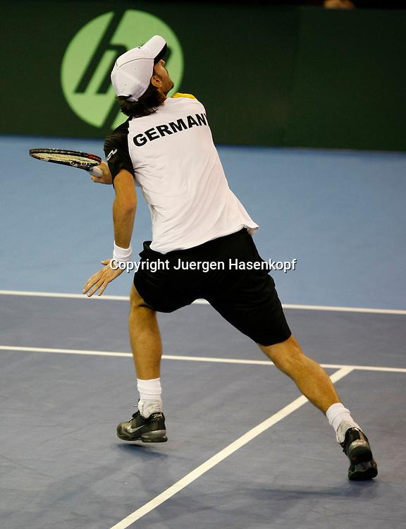 Davis Cup Begegnung in Toulon, Frankreich - Deutschland, FRA. vs GER., ITF Tennis Herren Mannschaftswettbewerb, Doppel Match, Christopher Kas(GER), ..Photo: Juergen Hasenkopf..