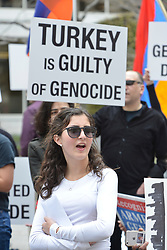 April 24, 2017 - Boston, Massachusetts, U.S - Armenian Americans in Boston commemorate the 102 anniversary of the 1915 Armenian Genocide by Turkey during the First World War by protesting in front of the Turkish Consulate. Turkey denies that there was a genocide. The Armenians and historians world wide say 1.5 million were killed...This years commemoration of the Armenian Genocide was energized by the release of the Armenian Genocide based film ''The Promise'' that opened in theaters in the United States three days ago. (Credit Image: © Kenneth Martin via ZUMA Wire)