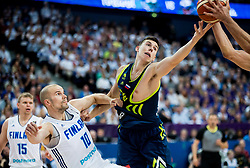 Tuukka Kotti of Finland vs Vlatko Cancar of Slovenia during basketball match between National Teams of Finland and Slovenia at Day 3 of the FIBA EuroBasket 2017 at Hartwall Arena in Helsinki, Finland on September 2, 2017. Photo by Vid Ponikvar / Sportida