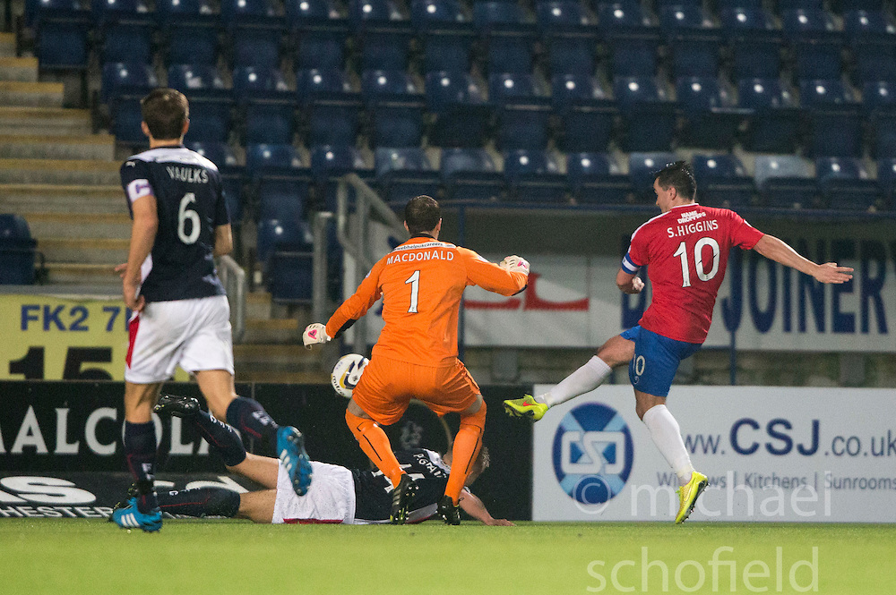 Cowdenbeath's Sean Higgins misses.<br /> Falkirk 1 v 0 Cowdenbeath, William Hill Scottish Cup game played 29/11/2014 at The Falkirk Stadium.