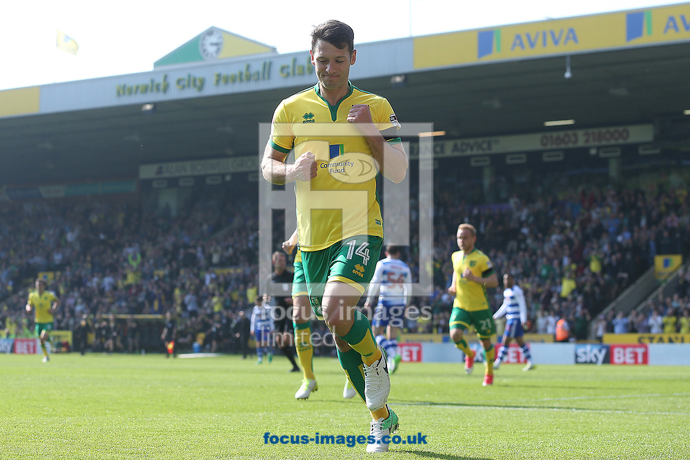 Wes Hoolahan of Norwich celebrates scoring his sides 2nd goal during the Sky Bet Championship match at Carrow Road, Norwich<br /> Picture by Paul Chesterton/Focus Images Ltd +44 7904 640267<br /> 08/04/2017
