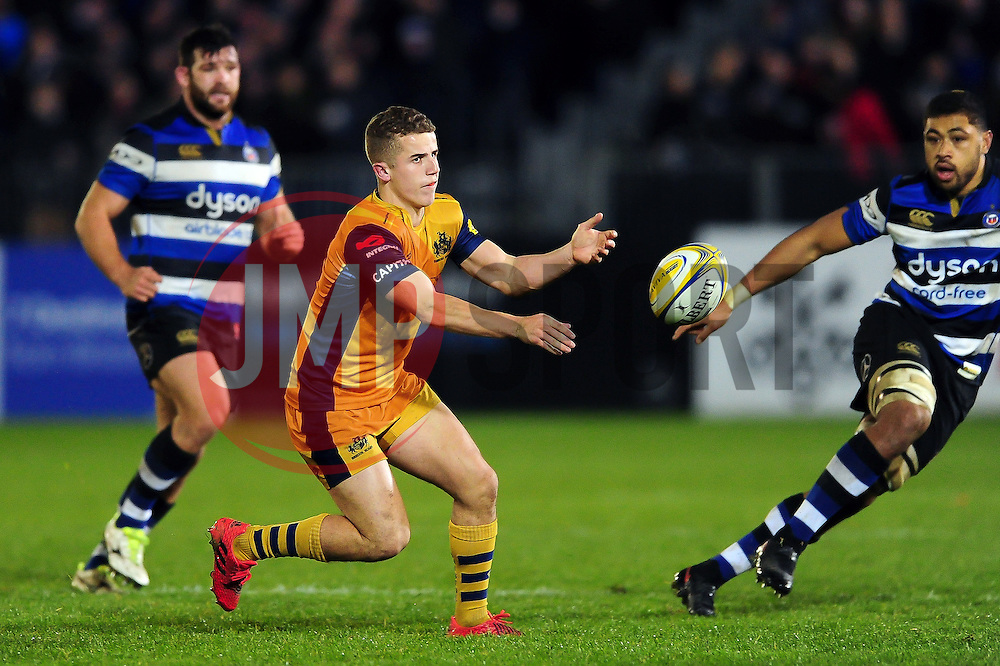 Billy Searle of Bristol Rugby passes the ball - Mandatory byline: Patrick Khachfe/JMP - 07966 386802 - 18/11/2016 - RUGBY UNION - The Recreation Ground - Bath, England - Bath Rugby v Bristol Rugby - Aviva Premiership.
