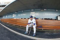 May 12, 2007: First Baseman #5 Nomar Garciaparra alone in the dugout before the game as the Los Angeles Dodgers defeated the Cincinnati Reds 7-3 at Dodger Stadium in Los Angeles, CA.