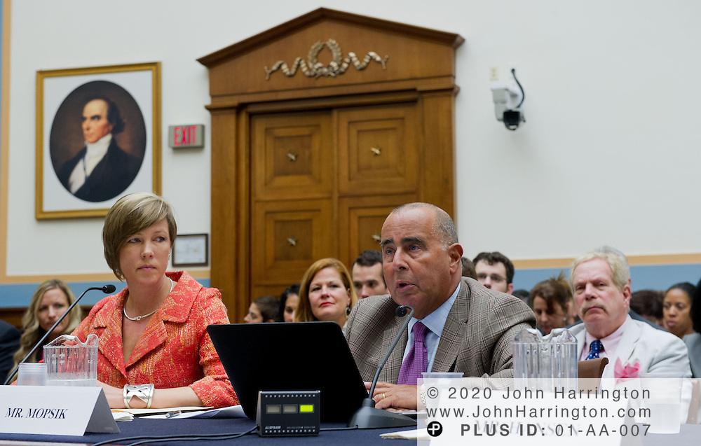"""Eugene Mopsik, Executive Director of the American Society of Media Photographers (right) delivers his testimony as Sandra Aistars, Executive Director of the Copyright Alliance (left) looks on during testimony to the U.S. House of Representatives Committee on the Judiciary, Subcommittee on Courts, Intellectual Property and the Internet on the subject """"Innovation in America: The Role of Copyrights"""", Thursday July 25, 2013 on Capitol Hill in Washington DC."""