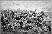 Battle of Majuba Hill, 27 February 1881, lst Boer War. British under General Colley, routed by the Boers.  After drawing by R. Caton Woodville based on notes by eyewitnesses.