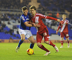 Middlesbrough's Patrick Bamford challenges for the ball with Birmingham City's Stephen Gleeson - Photo mandatory by-line: Dougie Allward/JMP - Mobile: 07966 386802 - 18/02/2015 - SPORT - Football - Birmingham - ST Andrews Stadium - Birmingham City v Middlesbrough - Sky Bet Championship