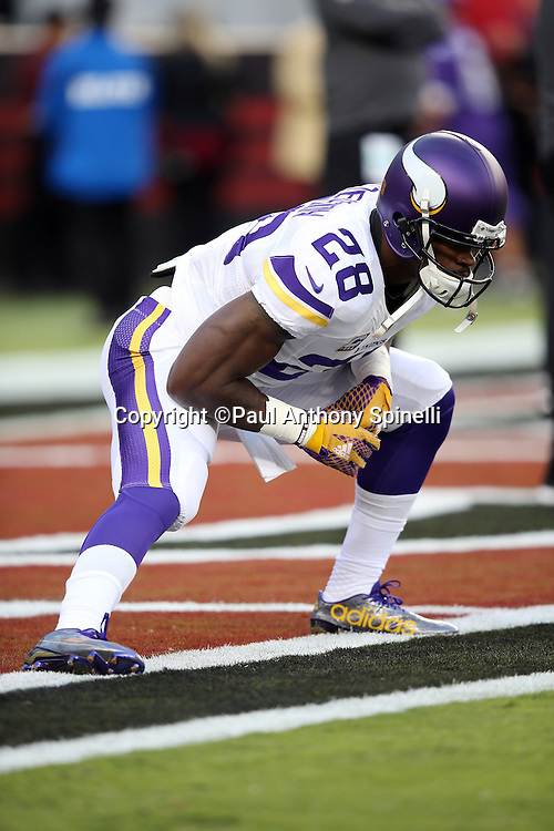 Minnesota Vikings running back Adrian Peterson (28) stretches before the 2015 NFL week 1 regular season football game against the San Francisco 49ers on Monday, Sept. 14, 2015 in Santa Clara, Calif. The 49ers won the game 20-3. (©Paul Anthony Spinelli)