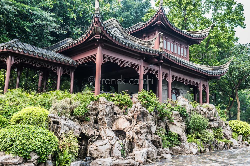Hong Kong, China - june 8, 2014: pagoda temple Kowloon Walled City Park in Hong Kong