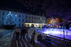 Ice rink at Trg Svobode Square on December 14, 2019 in Maribor, Slovenia. Photo by Miloš Vujinović / Sportida