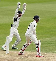 Middlesex's Josh Simpson celebrates taking a catch to dismiss Durham's Keaton Jennings - Photo mandatory by-line: Robbie Stephenson/JMP - Mobile: 07966 386802 - 04/05/2015 - SPORT - Football - London - Lords  - Middlesex CCC v Durham CCC - County Championship Division One
