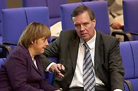 24 OCT 2003, BERLIN/GERMANY:<br /> Angela Merkel (L), CDU Bundesvorsitzende, und Volker Ruehe (R), CDU, Bundesverteidigungsminister a.D., im Gespraech, waehrend der Bundestagsdebatte zum Einsatz von Bundeswehrsoldaten in K undus/A fganistan, Plenum, Deutscher Bundestag<br /> IMAGE: 20031024-01-042<br /> KEYWORDS: Volker Rühe, Gespräch