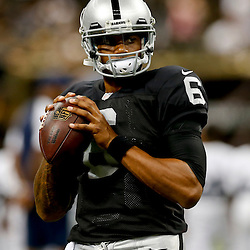 Aug 16, 2013; New Orleans, LA, USA; Oakland Raiders quarterback Terrelle Pryor (6) against the New Orleans Saints during the first quarter of a preseason game at the Mercedes-Benz Superdome. Mandatory Credit: Derick E. Hingle-USA TODAY Sports